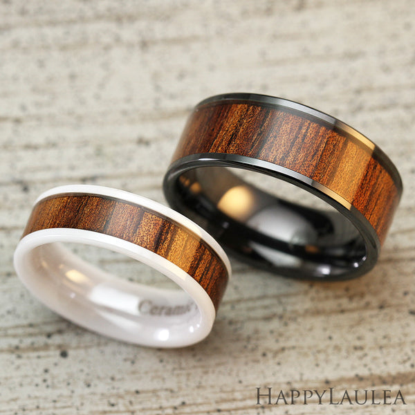 Pair of 6&8mm HI-TECH Ceramic Assorted Ring Set with Koa Wood Inlay - Flat Shape, Comfort Fitment