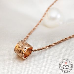 14k Rose Gold Barrel Necklace Hand Engraved Hawaiian Floral Design with Rope Chain