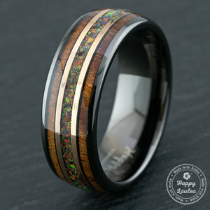 Gun Grey Tungsten Rose Gold Mid-Strip Ring with Fire Opal & Hawaiian Koa Wood Tri-Inlay - 8mm, Dome Shape, Comfort Fitment
