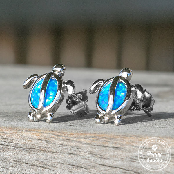 Hawaiian Sea Turtle (Honu) with Blue Opal Stud Earrings