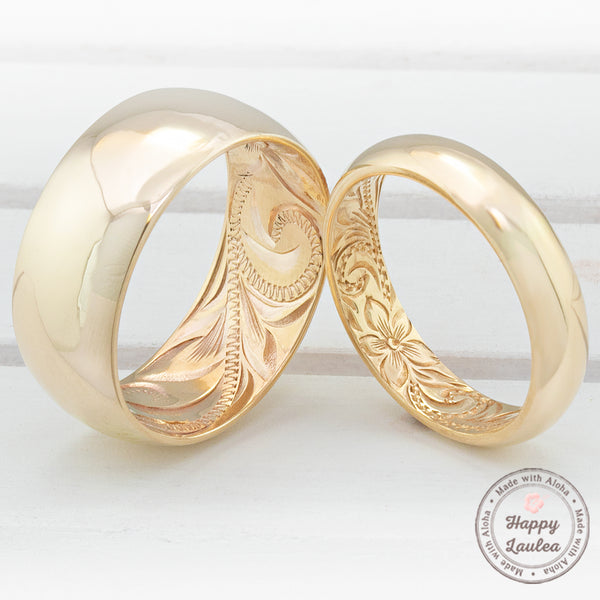 14k Classic Style Inside Engraving Hawaiian Jewelry Ring  - 4, 6, & 8mm