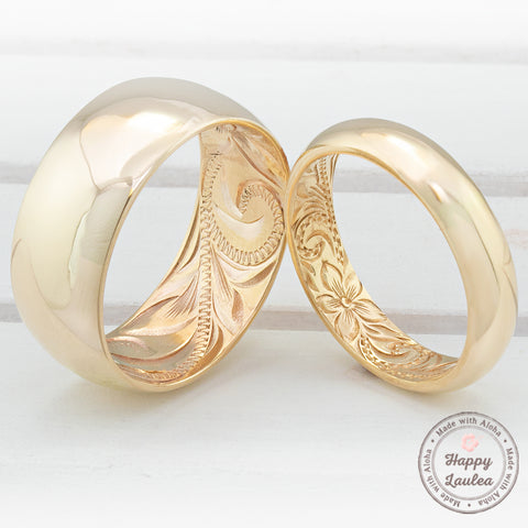 14k Classic Style Inside Engraving Hawaiian Jewelry Ring /  4, 6, & 8mm / Barrel Shape, Standard Fitment