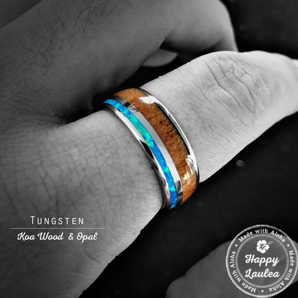 Tungsten Carbide Ring with Koa Wood & Blue Opal Offset Inlay - 8mm, Dome Shape, Comfort Fitment