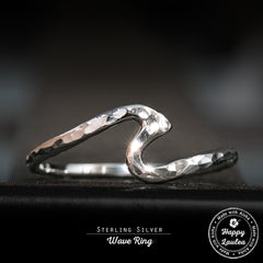 Sterling Silver Hammerd Finish Wave Ring