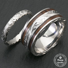 Pair of 3&8mm Assorted Hawaiian Jewelry Platinum Rings with Koa Wood Inlay -