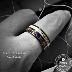 Black Zirconium Ring Camo & Antler Duo Inlay - 8mm, Flat Shape, Comfort Fitment