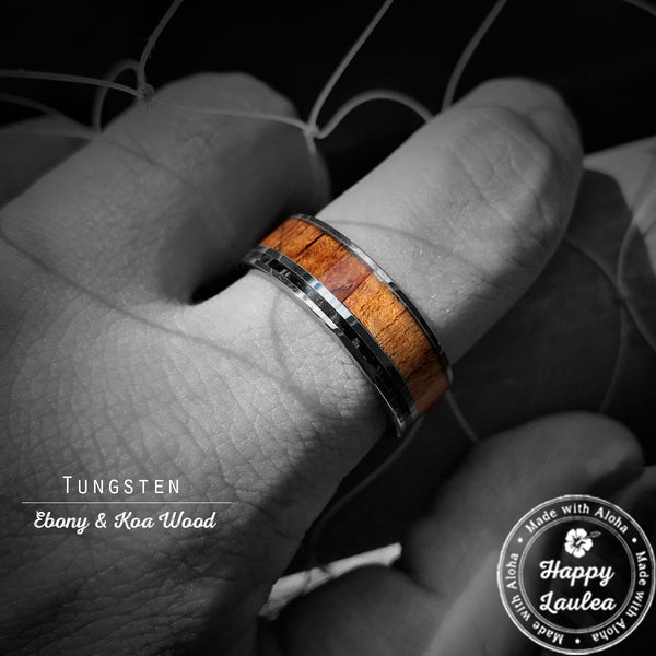 Tungsten Carbide Ring with Koa Wood & Thin Ebony Offset - 8mm, Flat Shape, Comfort Fitment