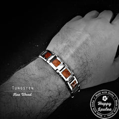 Tungsten Carbide 13mm Bracelet with Koa Wood Inlay