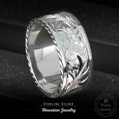 Sterling Silver Hawaiian Jewelry Ring with Old English Design & Diamond Cut Side Edge, 8mm-10mm, Flat Shape, Standard Fitment