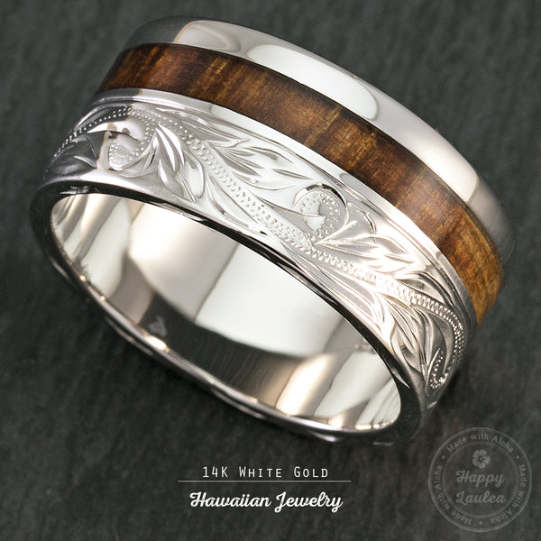 14K White Gold 10mm Width Hawaiian Jewelry Ring with Koa Wood Inlay - 2mm thickness, Flat Shape, Standard Fitment