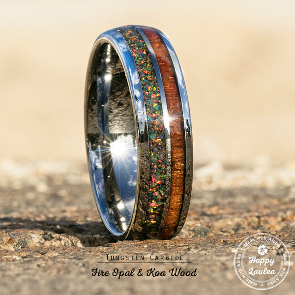 Tungsten Carbide Ring with Crushed Fire Opal & Hawaiian Koa Wood Duo Inlay - 6mm, Dome Shape, Comfort Fitment