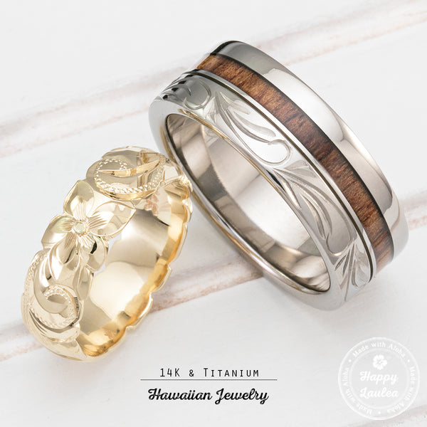 Pair of 14K Gold & Titanium Assorted Hawaiian Jewelry Couple/Wedding Ring Set - 6&8mm Widths