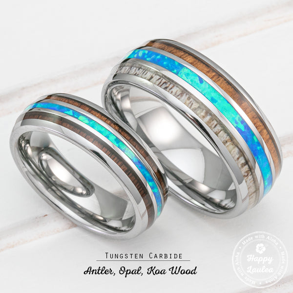 Pair of Assorted Tungsten Carbide Rings with Antler, Opal & Koa Wood Tri Inlay - 6&8mm, Dome Shape, Comfort Fitment