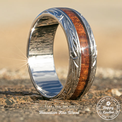 Sterling Silver Ring Hand Engraved Hawaiian Jewelry Ring with Koa Wood Inlay - 8mm, Dome Shape, Standard Fitment