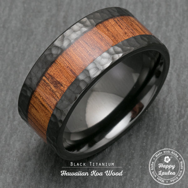 Black Zirconium Hammered 10mm Wide Width Ring with Hawaiian Koa Wood Inlay - Flat Shape, Comfort Fitment