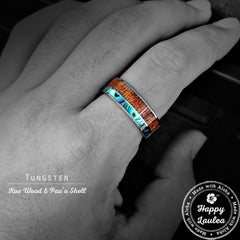 Tungsten Carbide Ring Ring with Abalone Shell and Koa Wood Offset Inlay