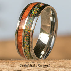 Tungsten Carbide Ring with Crushed Opal & Hawaiian Koa Wood Inlay - 8mm, Dome Shape, Comfort Fitment