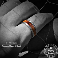 Hammered Titanium Ring with Hawaiian Koa Wood inlay - 8-10mm Comfort Fitment, Flat Shaped
