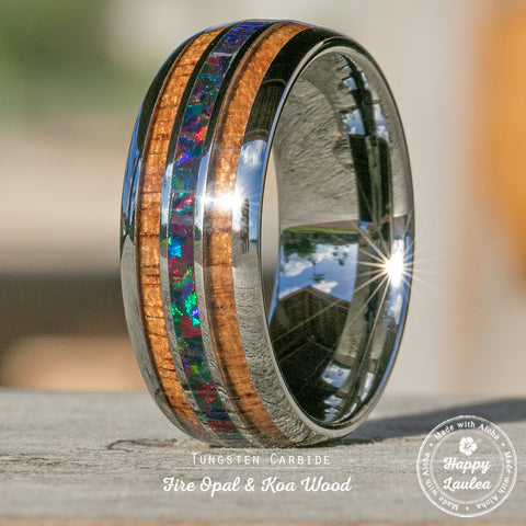 Tungsten Carbide Ring with Fire Opal & Koa Wood Tri Inlay - 8mm, Dome Shape, Comfort Fitment