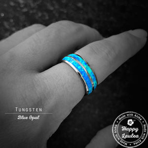 Tungsten Carbide Ring with Blue Opal Duo Inlay - 8mm, Dome Shape, Comfort Fitment