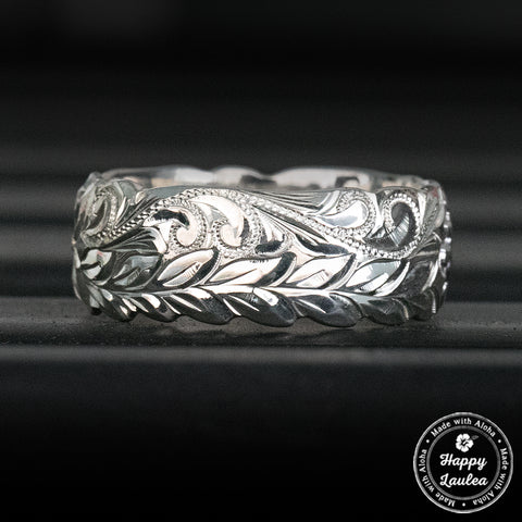 Sterling Silver Hawaiian Jewelry Ring Hand Engraved Maile Leaf & Scroll Design  - 8mm, Dome Shape, Standard Fitment