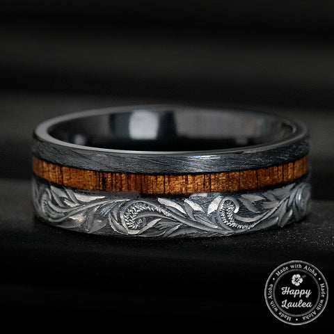 Black Zirconium Hawaiian Jewelry Ring with Offset Koa Wood Inlay - 8mm, Flat Shape, Comfort Fitment