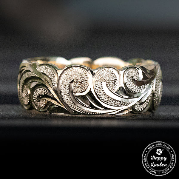 14k Gold Hawaiian Jewelry Ring Hand Engraved Scroll