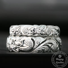 925 Sterling Silver Hawaiian Jewelry Ring Set with Scroll Design - 4&6mm, Dome Shape Standard Fitment