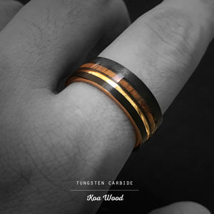 Black & Gold Tungsten Carbide Ring with Offset strip and Koa Wood Inlay - 8mm, Flat Shape, Comfort Fitment