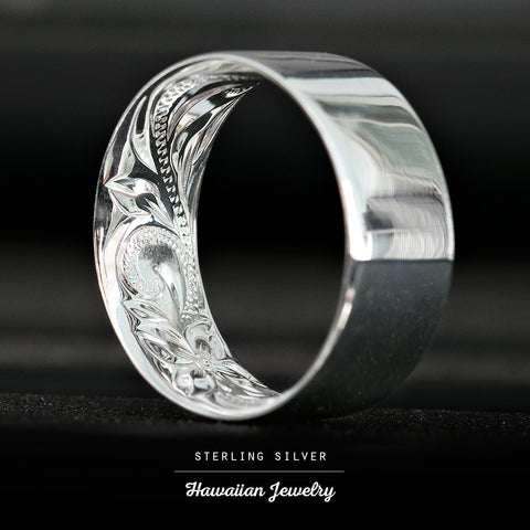 925 Sterling Silver Inside Engraving Ring with Hawaiian Heirloom Design: 4mm-10mm, Flat Shape, Comfort Fitment