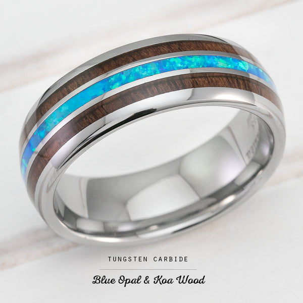 Tungsten Carbide Ring with Blue Opal & Hawaiian Koa Wood Tri Inlay - 8mm, Dome Shape, Comfort Fitment