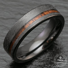 Black Zirconium Ring with Hawaiian Koa Wood Offset Inlay - 6mm, Flat Shape, Comfort Fitment