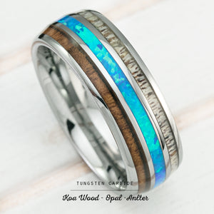 Tungsten Carbide Ring with Koa Wood, Blue Opal & Antler Tri Inlay - 8mm, Dome Shape, Comfort Fitment