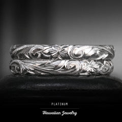 Platinum Hawaiian Jewelry Ring  Hand Engraved 'Old English Design with Cutout Wave Edges - 3mm, Dome Shape, Standard Fitment