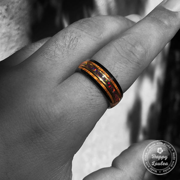 Black Tungsten 8mm Mid-Gold Strip Ring / Rasta Fire Opal & Hawaiian Koa Wood Tri-Inlay / Dome Shape & Comfort Fitment