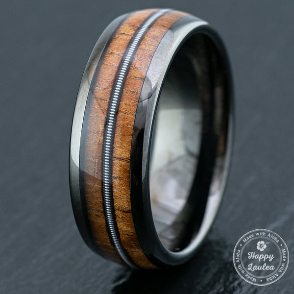 Gun Grey Tungsten Carbide Ring / Mid Guitar Sting & Hawaiian Koa Wood Inlay / 8mm width / Dome Shape-Comfort Fitment