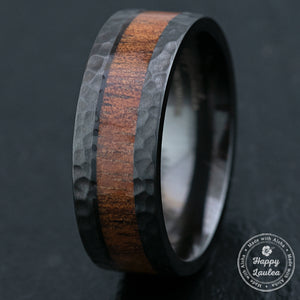 Black Zirconium Hammered Ring & Hawaiian Koa Wood Inlay / 8mm width / Flat Shape, Comfort Fitment