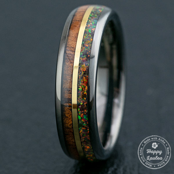 Gun Grey Mid-Gold Strip Tungsten Carbide Ring / Hawaiian Koa Wood & Fire Opal / 6mm width / Dome Shape ,  Comfort Fitment