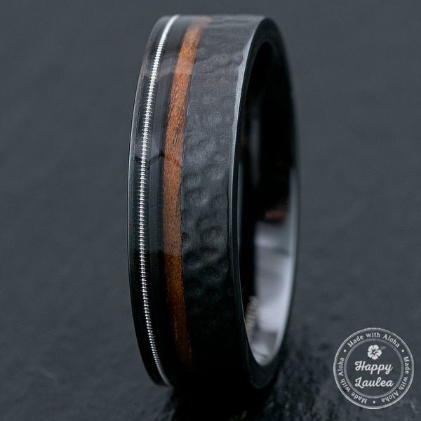 Black Zirconium Ring with Hawaiian Koa Wood & Guitar String / 7mm Width / Flat Shape , Comfort Fitment