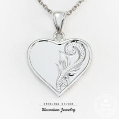 Sterling Silver Heart Charm Hawaiian Jewelry Pendant - Chain Included