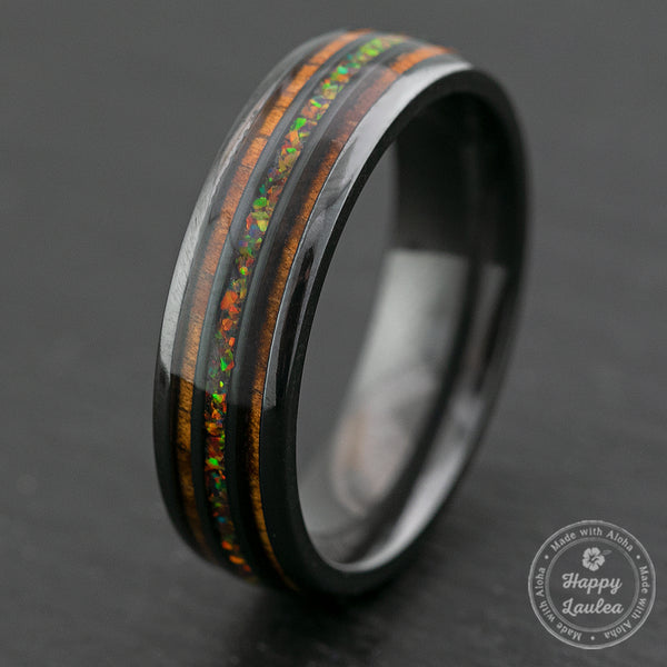 Zirconium Ring Fire Opal & Hawaiian Koa Tri-Inlay / 6mm / Dome Shape & Comfort Fitment