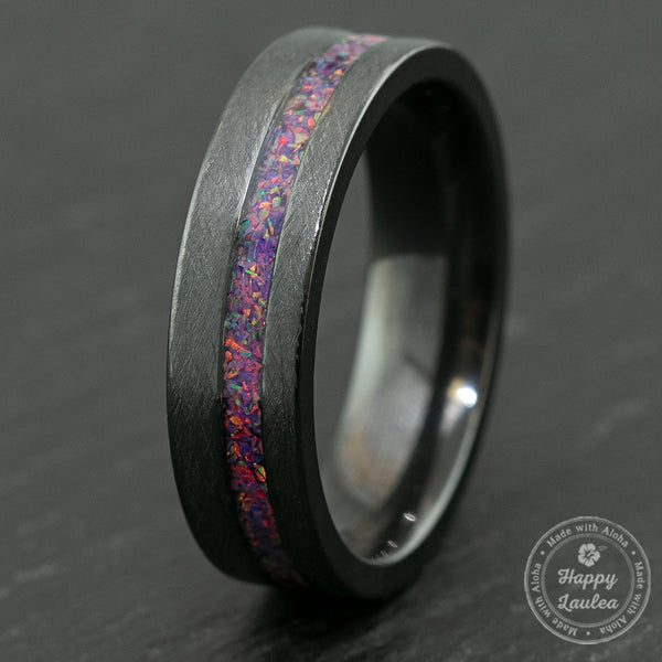 Zirconium Brushed Finish Ring with Lavender Fire Opal Offset Inlay  / 6mm / Flat Shaped & Comfort Fitment