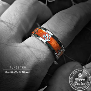 Tungsten 8mm Ring with Hawaiian Sea Turtle Pattern and Koa Wood Inlay, Flat Style Beveled Edges, Comfort Fitment