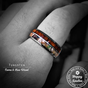 Tungsten Carbide Ring with Camo & Koa Wood inlay, 8mm, Dome Shape, Comfort Fitment