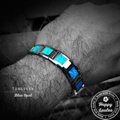 Tungsten Carbide 13mm Bracelet with Blue Opal Inlay