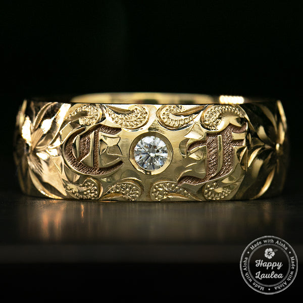 Two Initial 14K Gold Hawaiian Jewelry Diamond Ring / 8mm width / Dome Shape