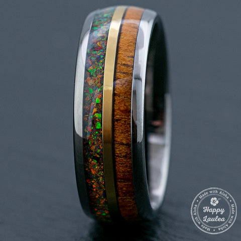 Gun Grey Mid-Gold Strip Tungsten Carbide Ring / Hawaiian Koa Wood & Fire Opal / 8mm width / Dome Shape , Comfort Fitment
