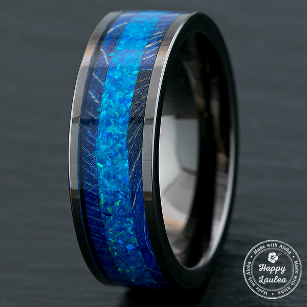 Gun Grey Tungsten Carbide Ring / Azure Blue Opal & Blue Box Elder Wood / 8mm width / Flat Style, Comfort Fitment