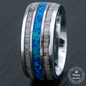 Tungsten Carbide Ring with Antler & Blue Opal Inlay - 10mm, Dome Shape, Comfort Fitment