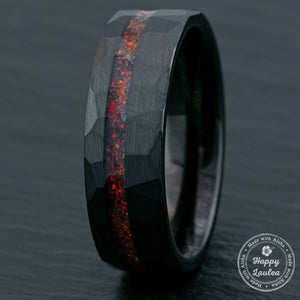 Black Tungsten Hammered Ring / Offset Fire Opal Inlay / 8mm Width / Flat Shape , Comfort Fitment